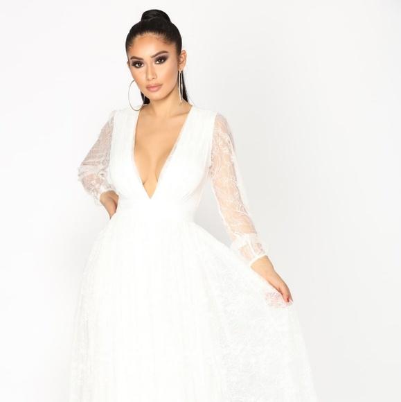Fashion Nova Beauty Queen Maxi Dress: Romantic Lace White Dress Maxi Prom